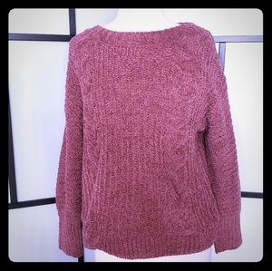 NWT Express mauve chenille cableknit sweater